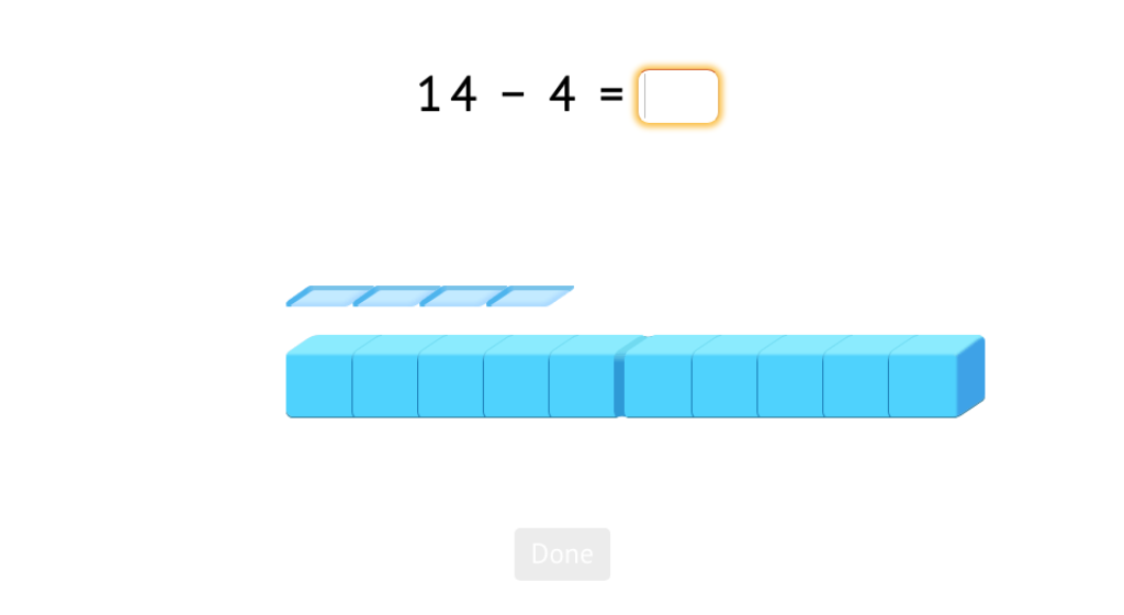 Add to or subtract from numbers 11-20 with and without a model of base-10 blocks 17396