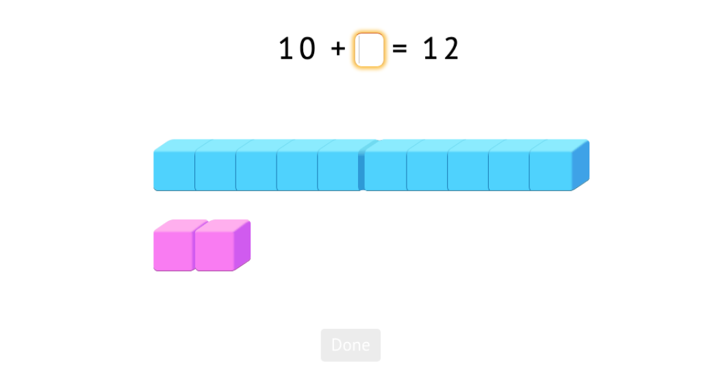 Complete +/- equations with numbers 11-20 with and without a model of base-10 blocks