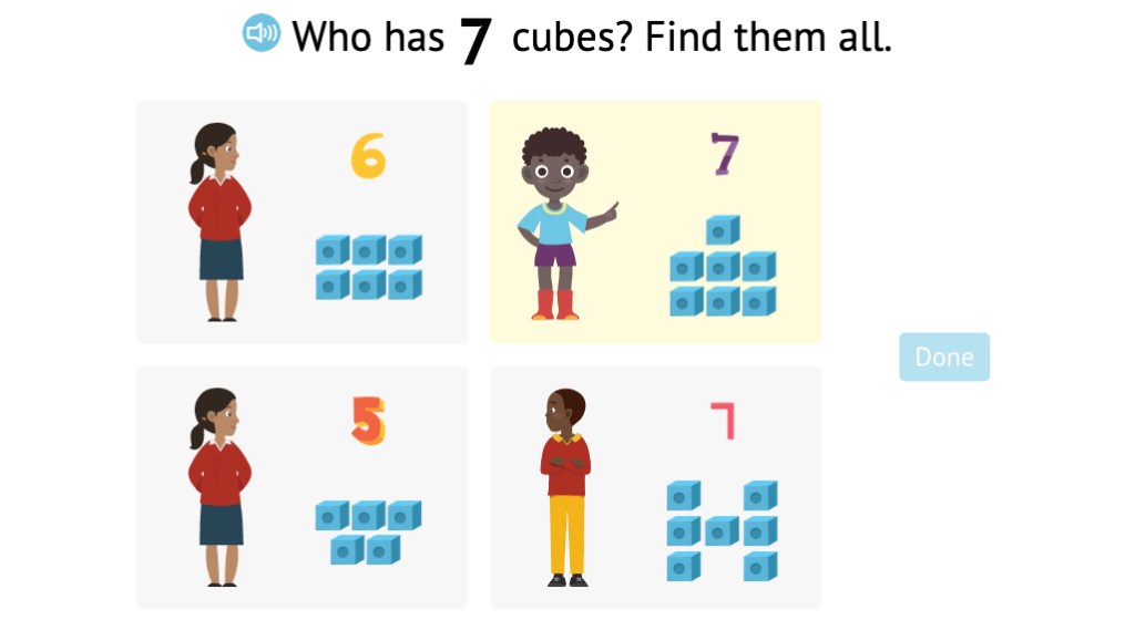 Identify sets of numbered cubes that match a given total of 6 or 7 (Part 2)