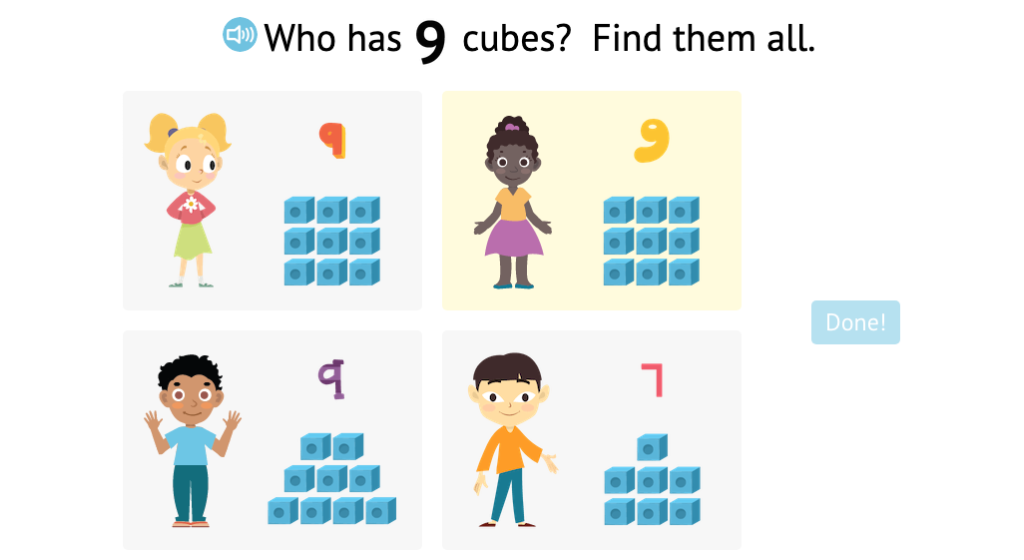 Identify sets of numbered cubes that match a given total up to 9 (Part 2)