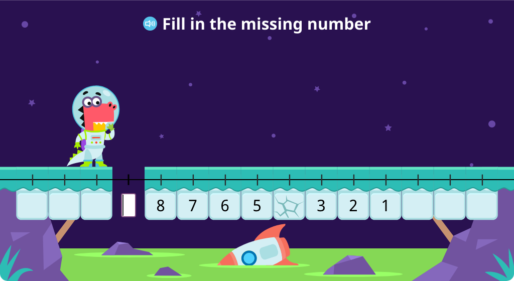 Identify missing numbers on a number line numbered 9-1