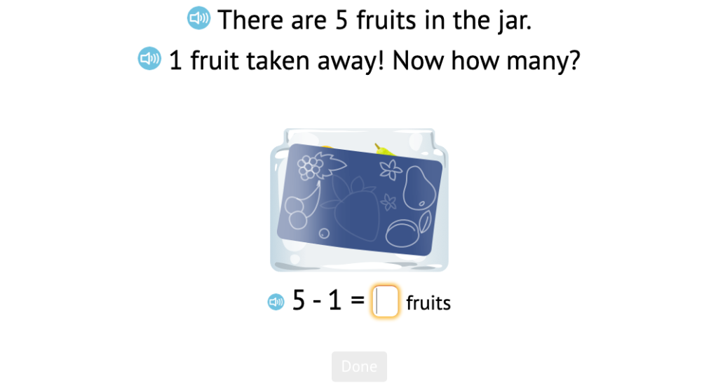 Solve -1 problems based on a known total and a scenario using objects