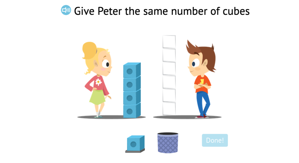 Count out the same number of cubes as a given set of cubes