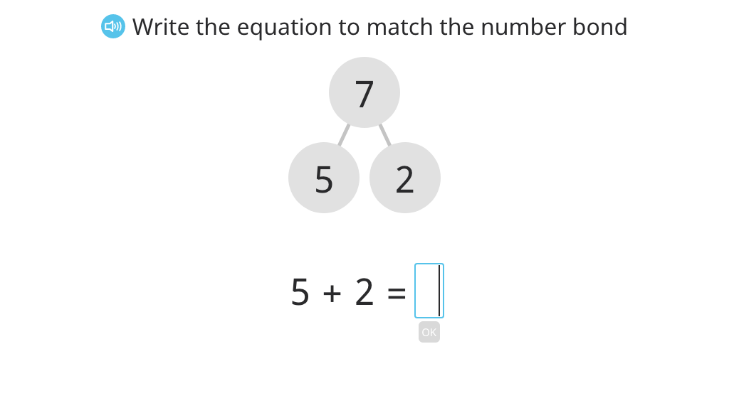Write an equation to match a number bond (total of 7)