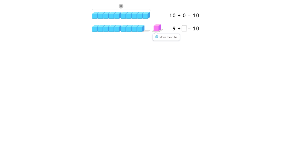 Complete addition equations to 10 based on a model of base-10 blocks