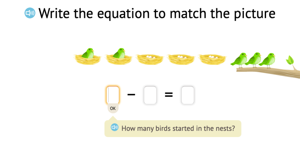 Record a scenario based on objects as a subtraction equation with a difference of 0 (Part 1)