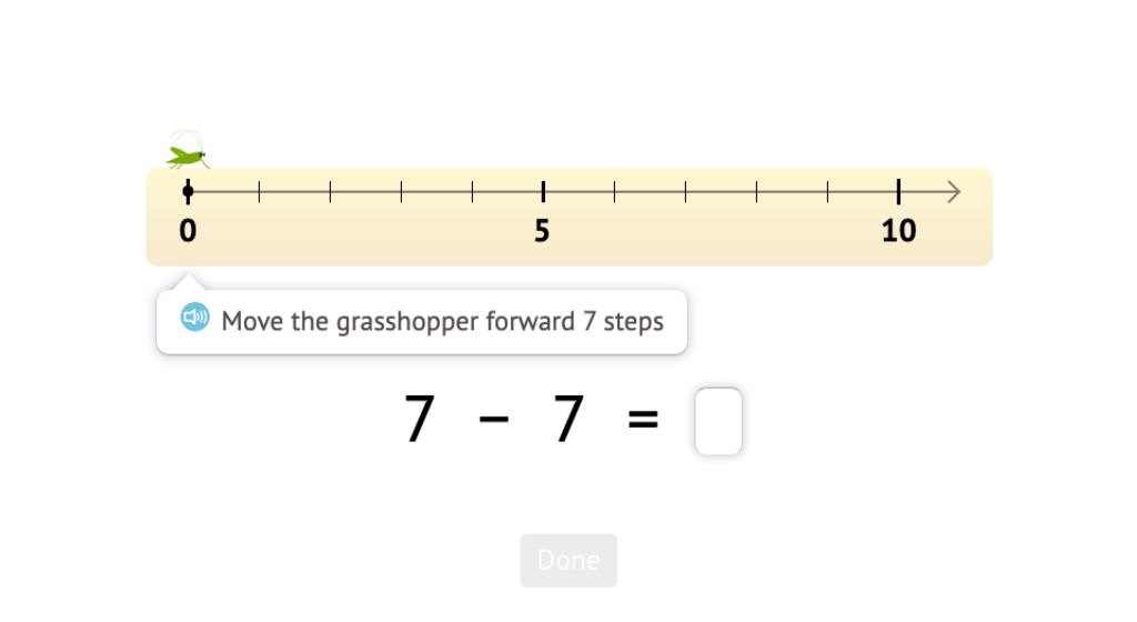Record a number line scenario as a subtraction equation with a difference of 0