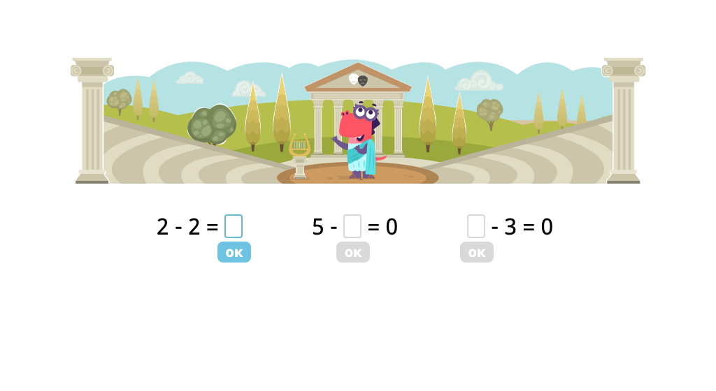 Identify missing numbers in subtraction equations with a difference of 0