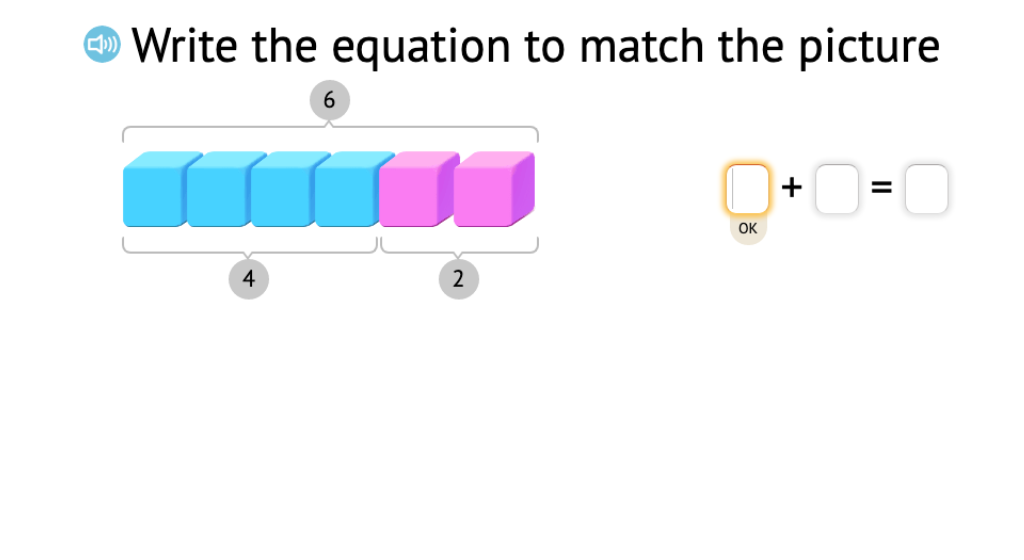 Record a model of base-10 blocks as two related equations that show subtraction from 6