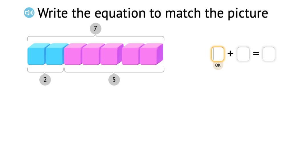 Record a model of base-10 blocks as two related equations that show subtraction from 7 or 8
