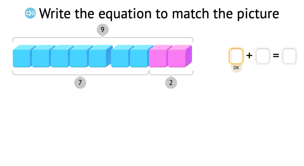 Record a model of base-10 blocks as two related equations that show subtraction from 9 or 10
