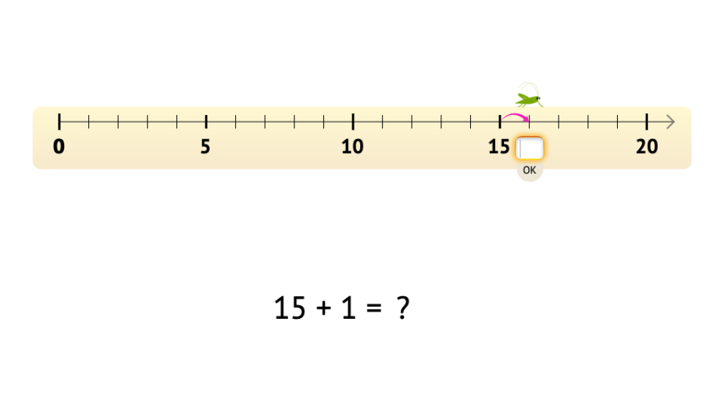 Add to or subtract from numbers 11-20 with and without a number line model