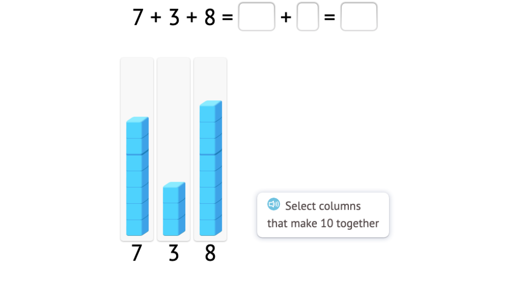 Add three addends by first matching two addends to make a 10 based on a model of base-10 blocks (Part 1)