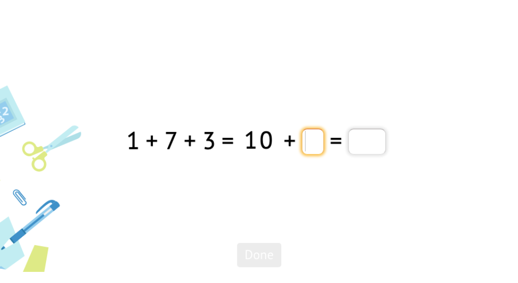 Add three addends by first matching two addends to make a 10 based on a model of base-10 blocks (Part 2)