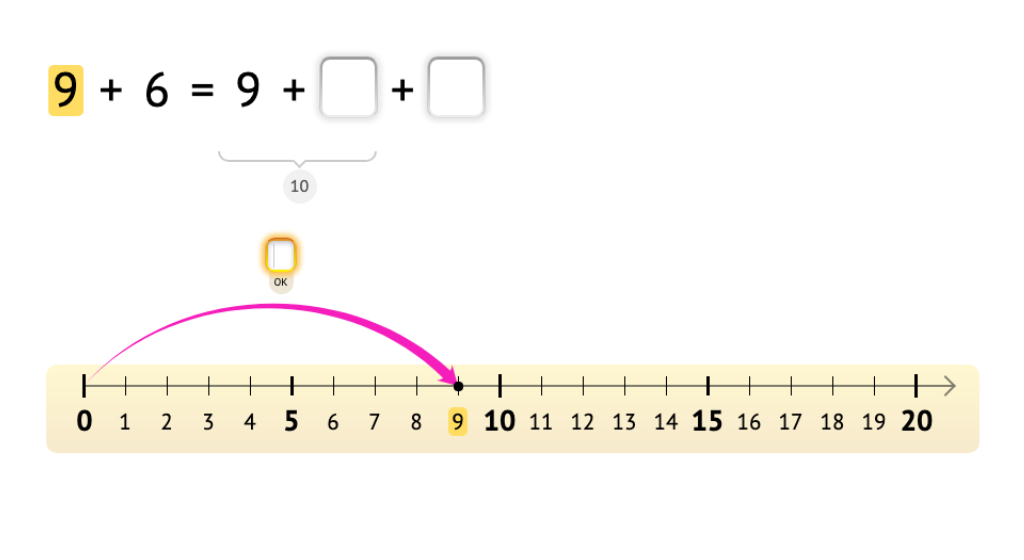 Solve equations with 9 across 10 using a number line