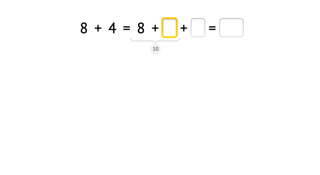Solve +8 equations with and without a model of base-10 blocks