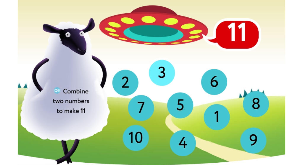 Identify addends to reach a given sum of 11, 12, or 13