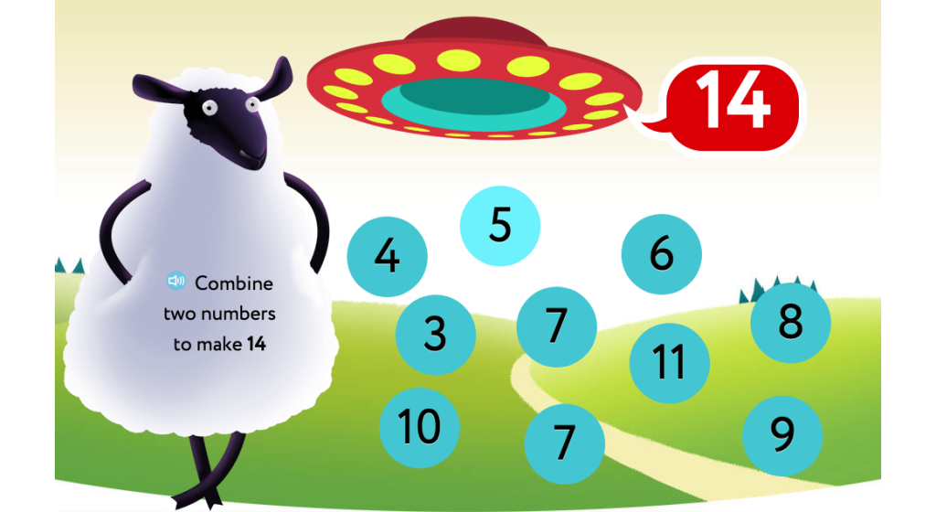 Identify addends to reach a given sum of 14, 15, or 16