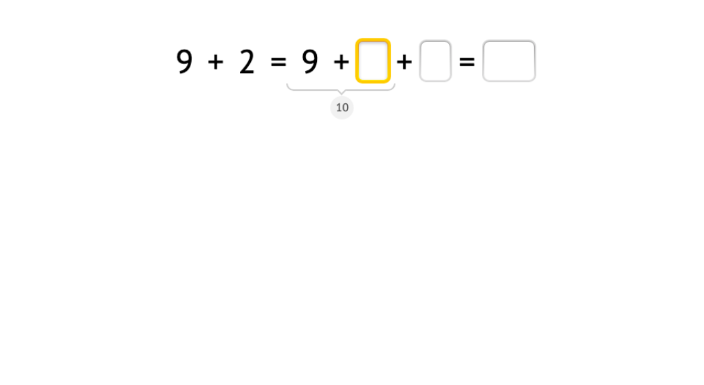 Split an addend to make a 10 and solve an addition equation