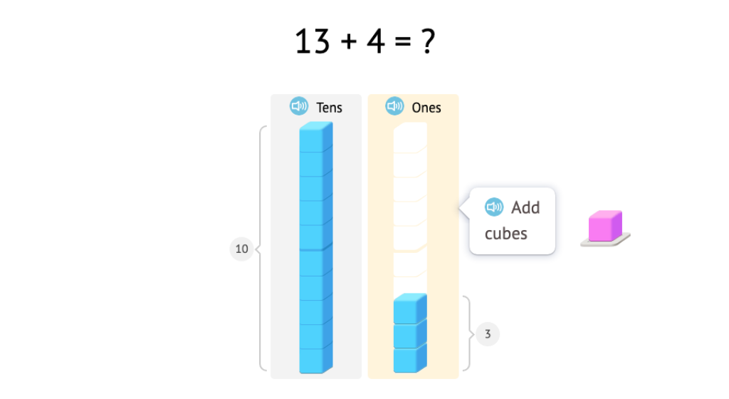 Add ones to numbers in the second ten using base-10 blocks
