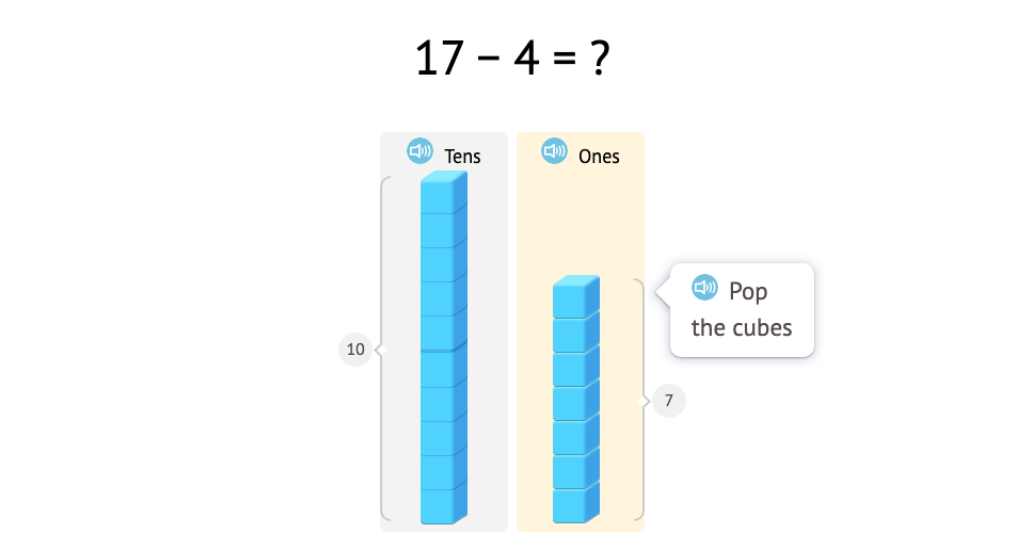 Subtract from numbers 11-20 using base-10 blocks