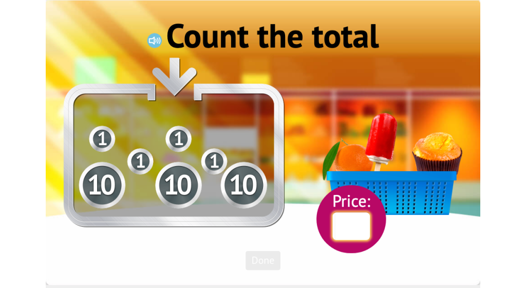 Determine the total of a set of 'coins' using 10s, 5s, and 1s