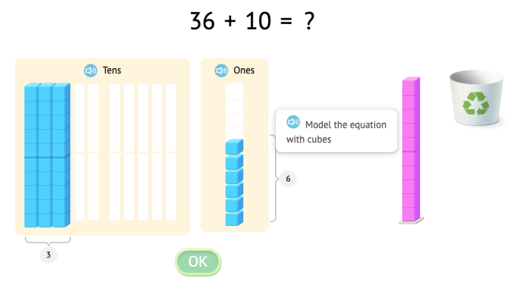 Solve equations that add or subtract 1 or 10 with and without modeling with base-10 blocks (Part 2)