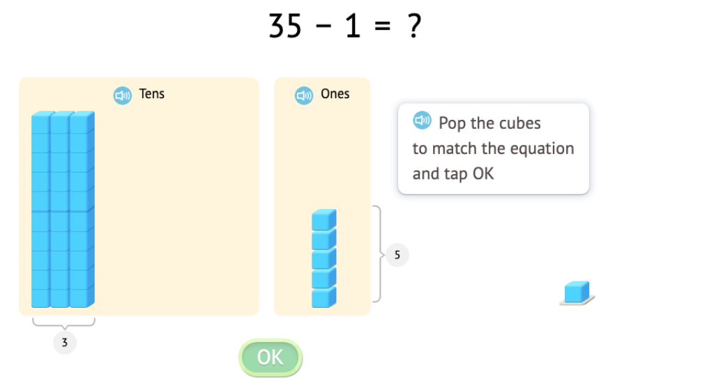 Solve equations that add or subtract 1 or 10 with and without modeling with base-10 blocks (Part 3)
