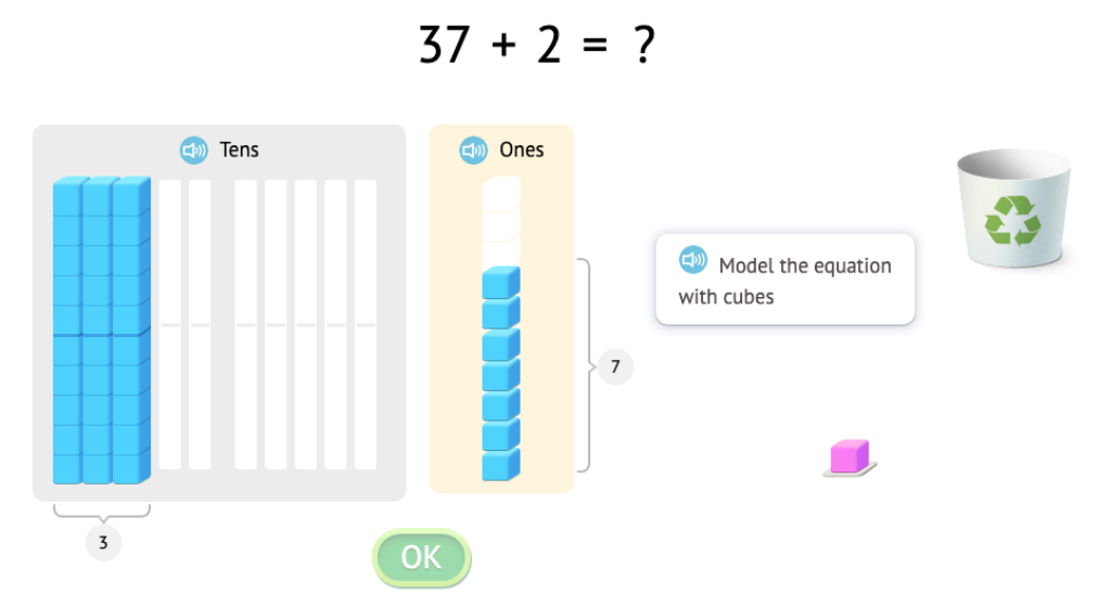 Solve equations that add or subtract 1 or 10 with and without modeling with base-10 blocks