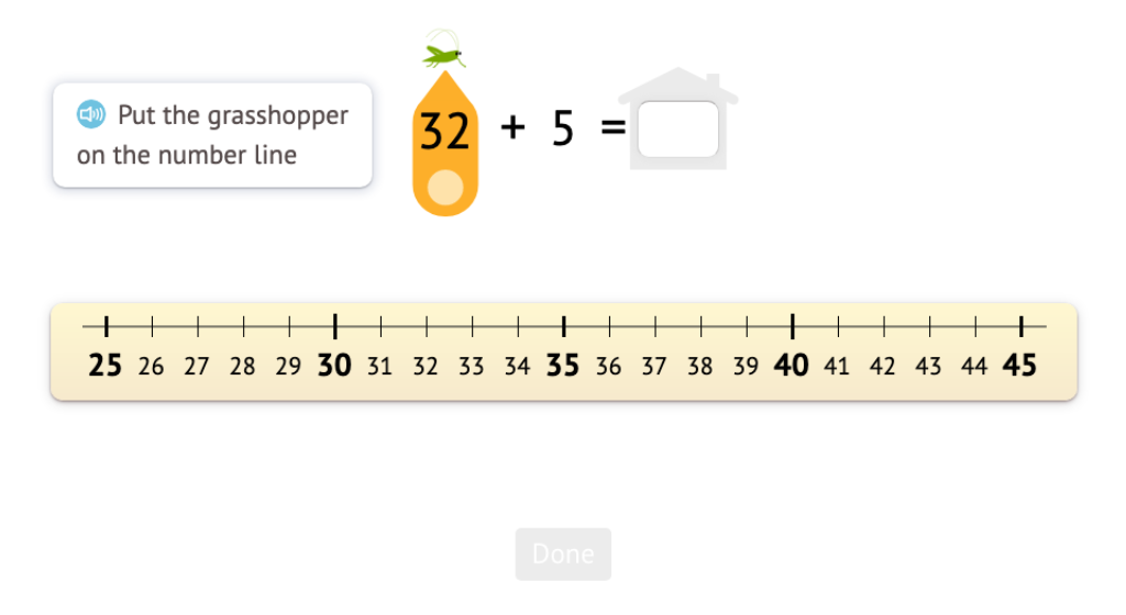 Model and solve addition equations that add a single-digit number to a two-digit number using a number line