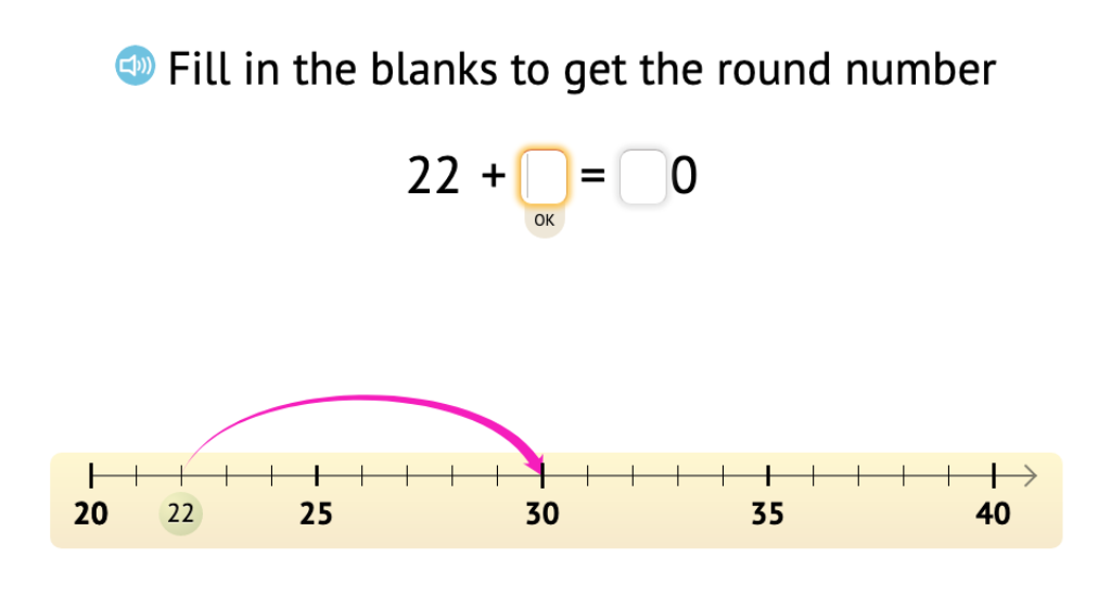 Determine a missing addend to add up to the next round number and solve the equation (Part 3)