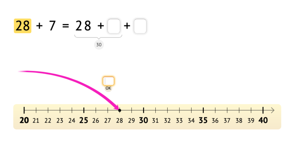 Solve addition equations across 10 using a number line