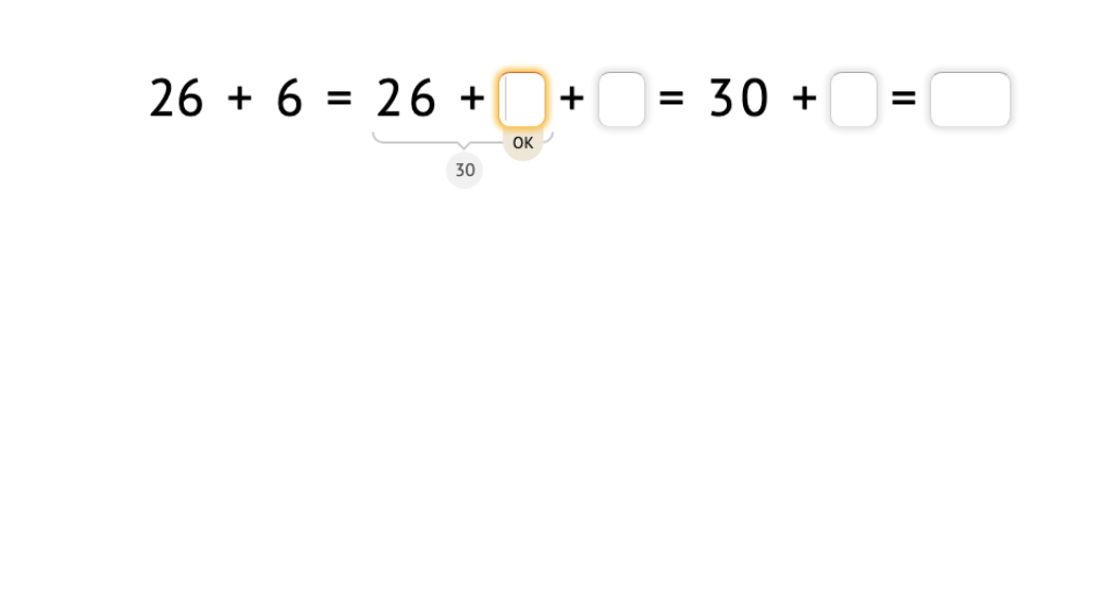 Solve addition equations across a 10 by splitting an addend to make a ten