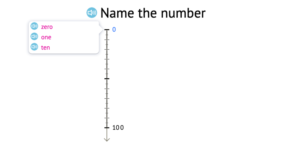 Determine a missing round number to 100 on a number line and identify its written name
