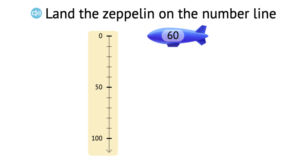 Position round numbers, in both digits and words, on a vertical number line