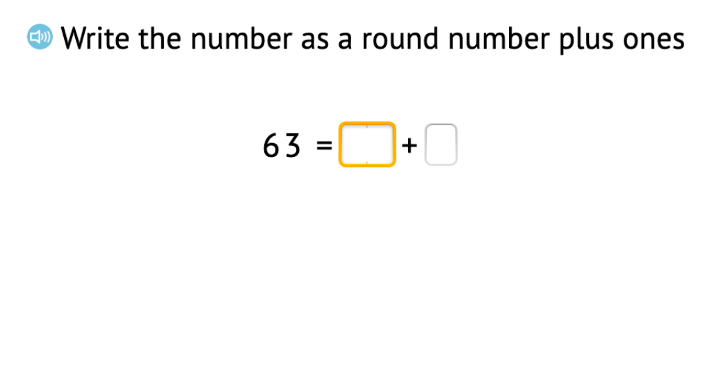 Decompose 2-digit numbers into a round number plus ones