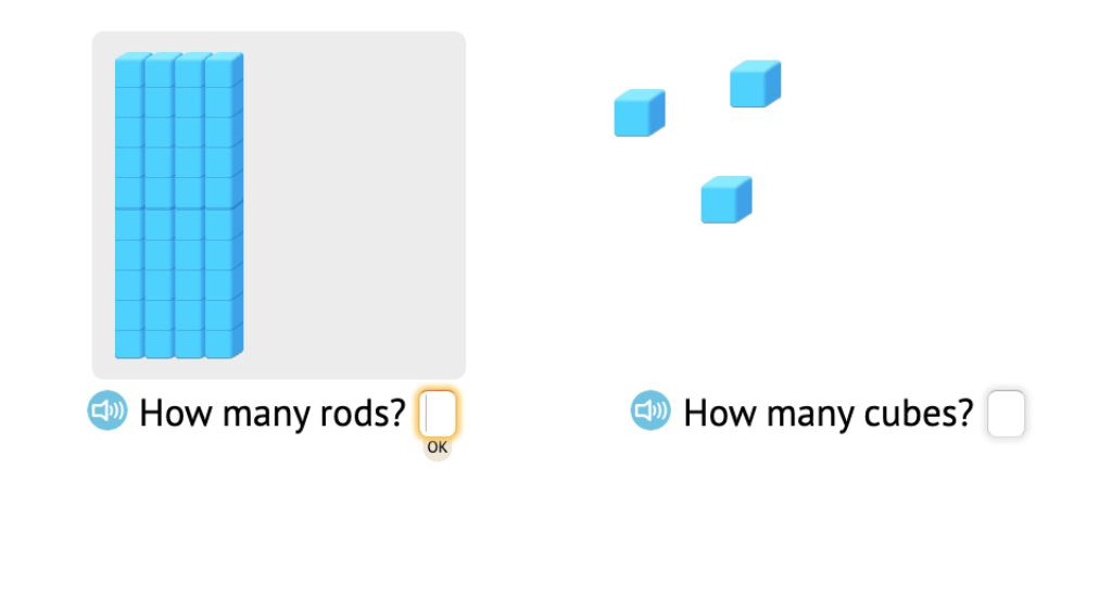 Determine 2-digit totals of base-10 blocks by counting tens and ones