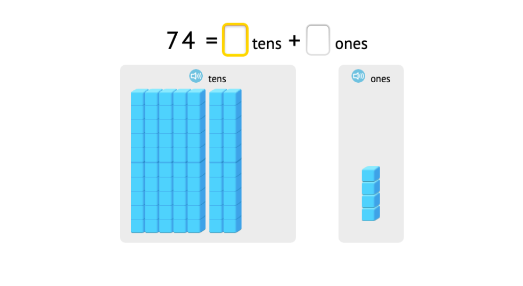 Decompose 2-digit numbers into tens and ones with and without a model of base-10 blocks