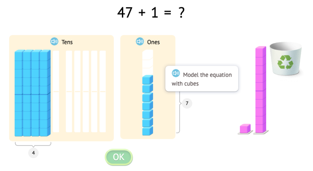 Solve +/- 1 and +/- 10 equations with and without a model of base-10 blocks