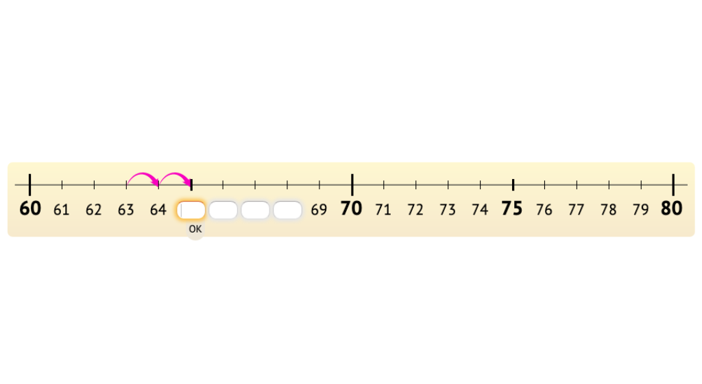 Count forward and backward within a ten on a number line