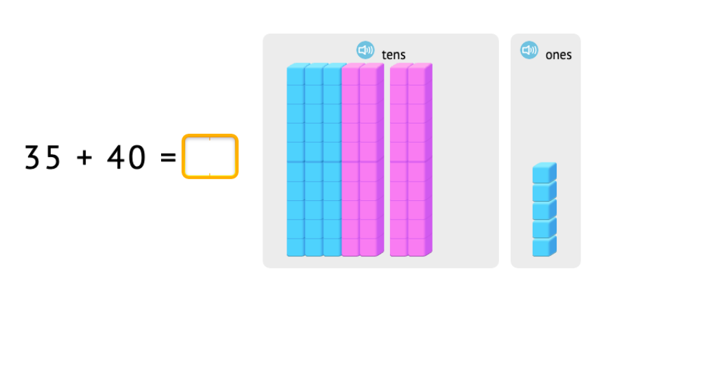 Adding round numbers using blocks and bars