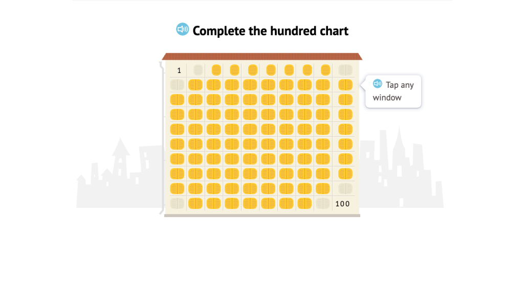 Identify 10 less, 10 more, 1 less, and 1 more on a hundred chart with limited numbering