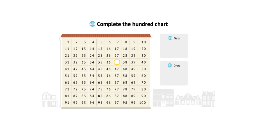 Identify missing numbers on a hundred chart and decompose into tens and ones