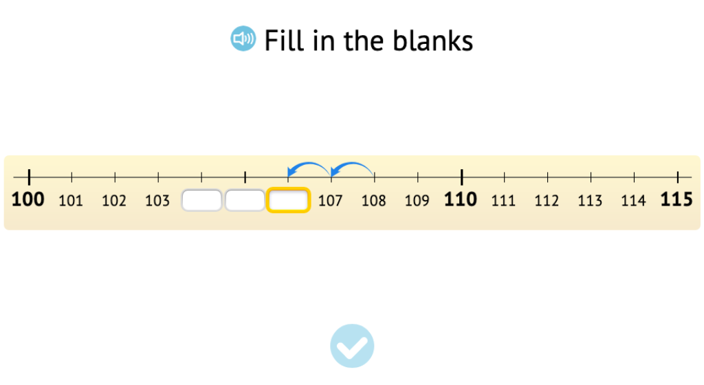 Count backward across 100 and beyond 100 on a number line