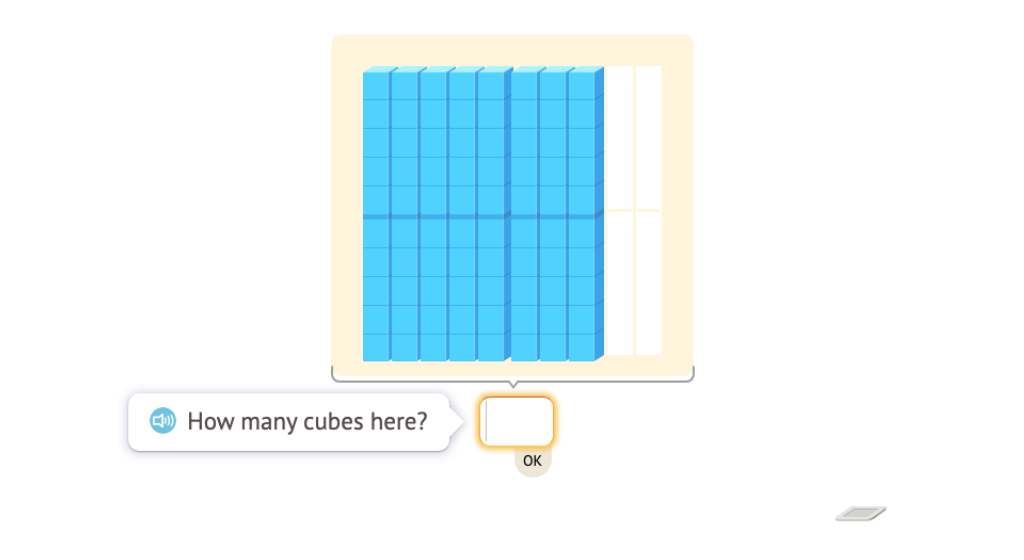 Determine totals beyond 100 using a base-10 flat, rods, and cubes