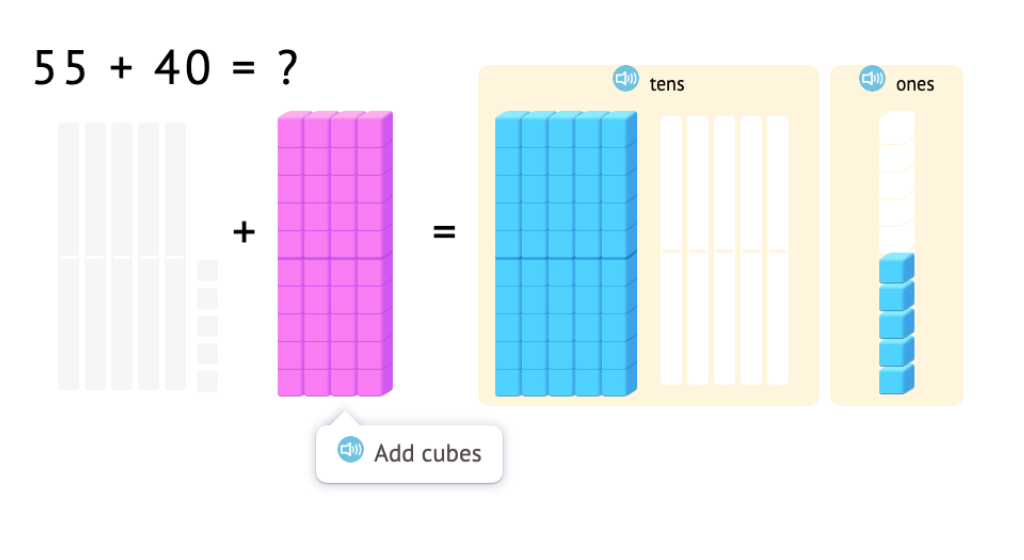 Model and solve equations that add a round number to a 2-digit number using base-10 blocks