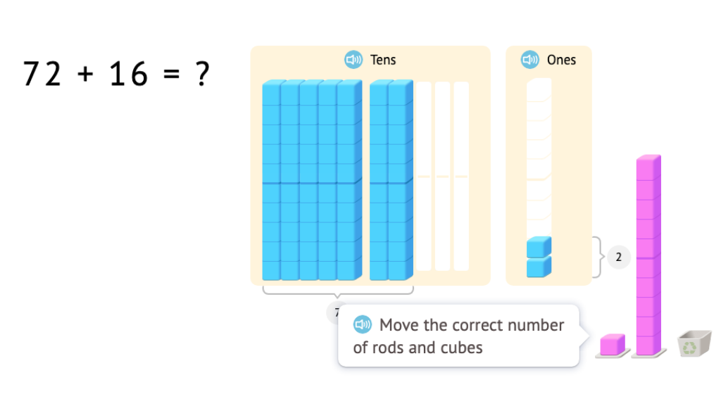 Model and solve equations that add two 2-digit numbers using base-10 blocks