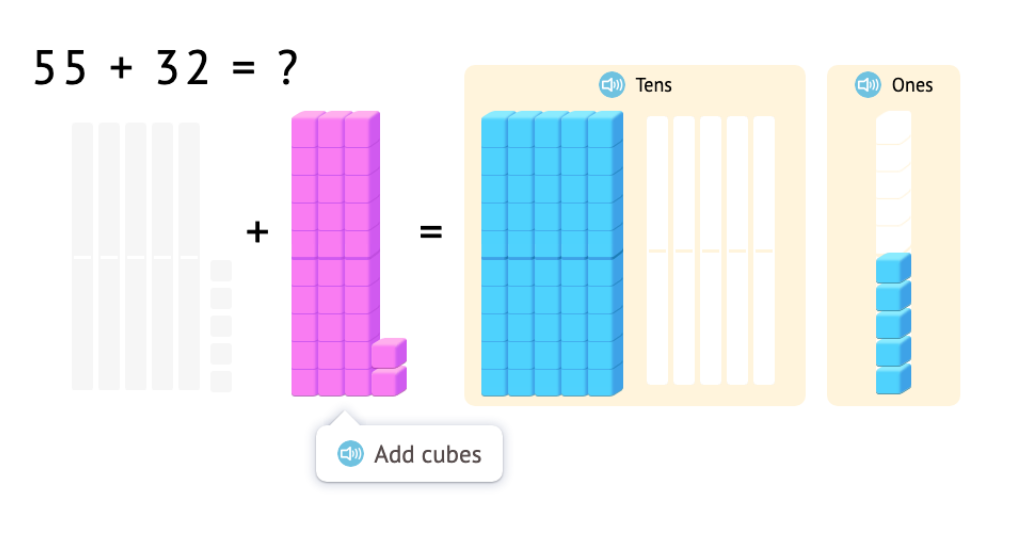 Model and solve 2-digit addition equations with and without exchanging using base-10 blocks