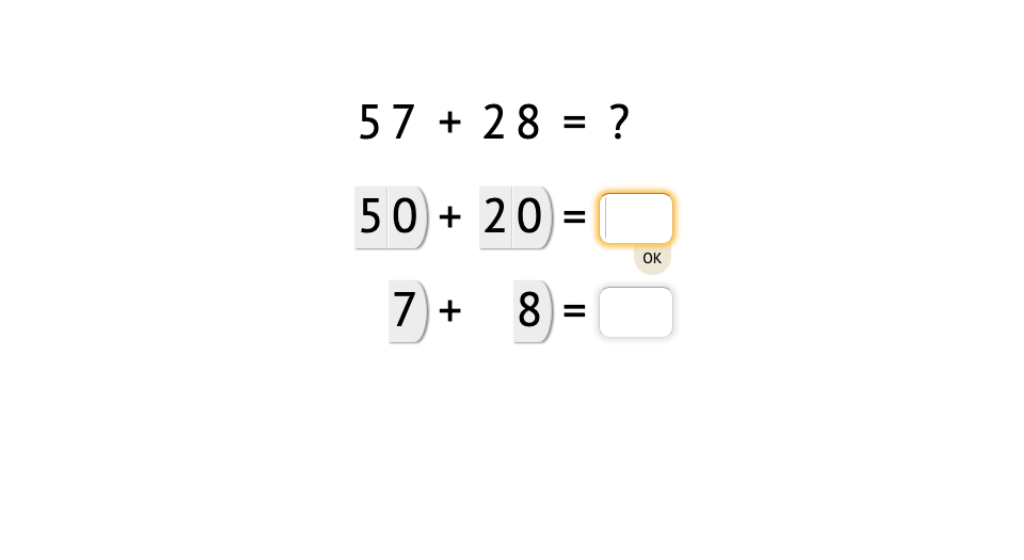 Solve 2-digit addition equations with and without exchanging by adding tens and ones separately