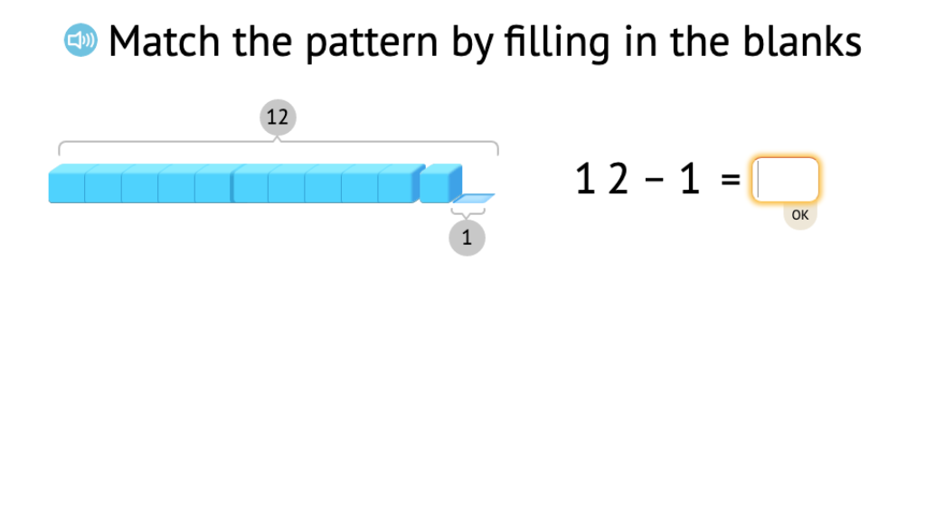 Complete a series of related equations to subtract across 10 based on a model of base-10 blocks